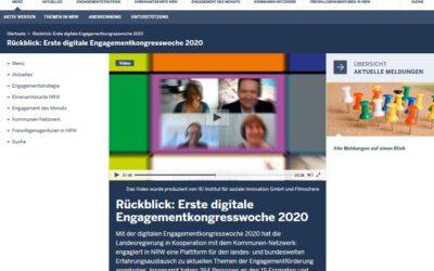 Video-Rückblick auf die Engagementkongresswoche NRW 2020